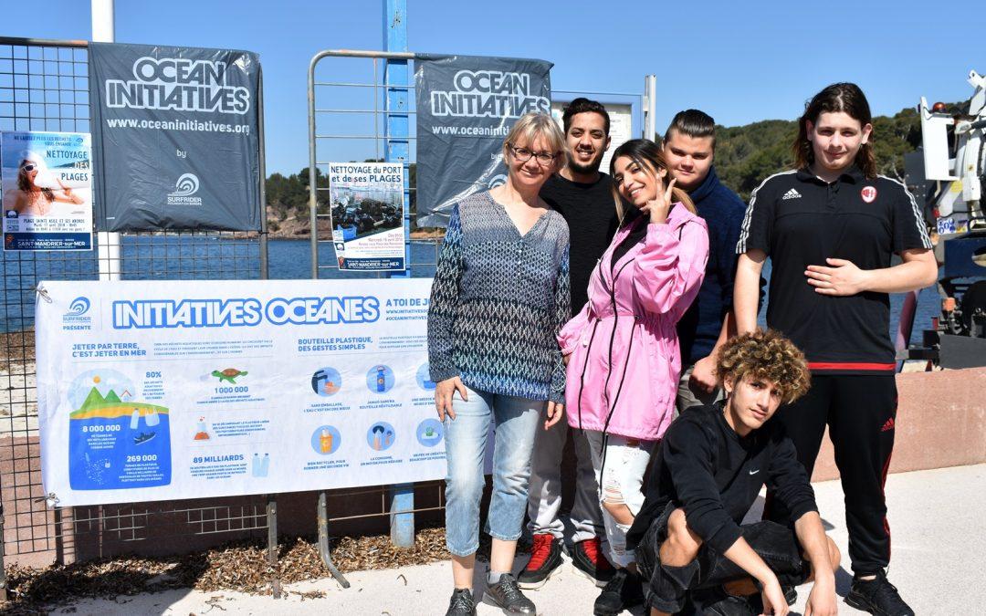 Action «Nettoyage des Plages» des services civiques de «Citoyens en Devenir» en partenariat avec Surf Rider Foundation Europe